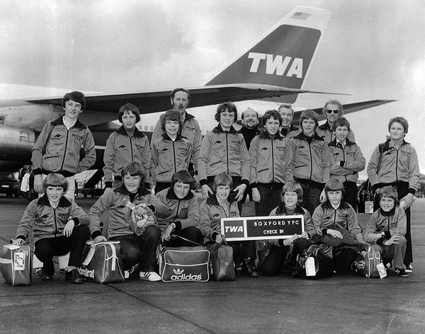 Boxford Youth Football Club 1979 at the airport