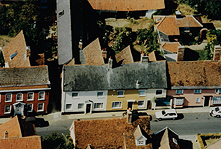 1997 Aerial photo of Swan St. showing (L-R) Kingsbury House, 31,33, Gerald Rice's Butchers Shop & 35 'Jacobs'