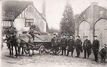 Boxford Fire Brigade, c1905 Standing outside the old gaol which at this time has doors on and was the fire station, now it is the bus shelter.