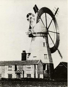 Boxford, Smock mill with circular sail and fantail c1875. The circular sail was fitted in 1861, there were only about four mills that were fitted with this type of sail.