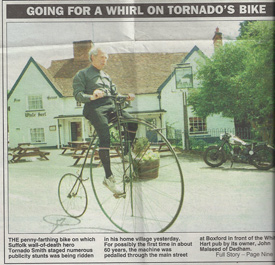 Going for a whirl on Tornado's bike