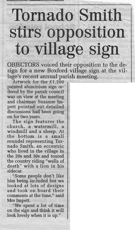 Tornado Smith stirs opposition to village sign