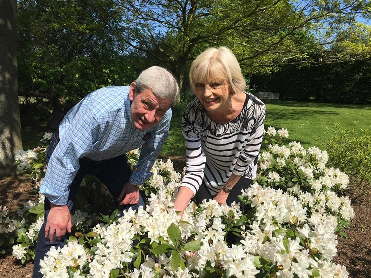 Mike and Elizabeth Tissier and their garden open for Boxford Open Gardens