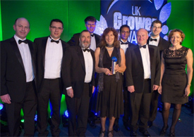 From left, Jason Perrott of Morrisons with the team from Boxford (Suffolk) Farms, Marcel Grigore, Jonathan Loshak, Iain Clarke, Susanna Rendall, Srinivas Gottam, Robert England, Robert Rendall and Tamara Unwin, following the presentation of the Top Fruit Grower of the Year award.