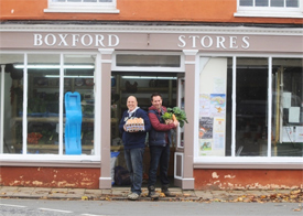 Boxford Stores, which is thought to be Britain's oldest shop, is set to re-open today. Pictured are Robin Windmill who will help run the shop, and Neil Cottrell the manager.
