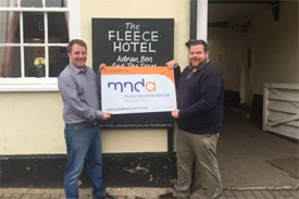 The Fleece Hotel in Boxford raised over £1,100 for the Motor Neurone Disease Association at their black tie fundraising evening.