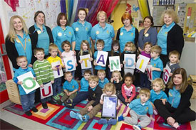 Sunflower Nursery celebrating their Outstanding Ofsted report