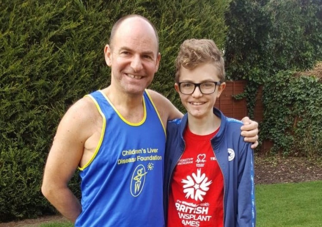 Stuart Wainwright, who will be running the Colchester Half Marathon to raise funds for the Children's Liver Disease Foundation (CLDF) with his son Sam, who has inspired him Picture: CLDF